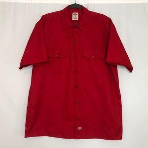 Dickies Red Short Sleeve Button Down Shirt Men's S